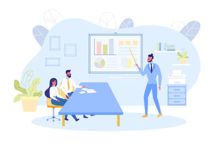 Informative Banner, Meeting Colleagues at Work. Man and Woman are Sitting at Table in Deliberation Room. Bearded Guy in Suit makes Report Using Graph and Chart. Vector Illustration.