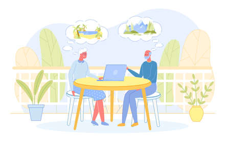 Senior People Sitting at Table Searching Traveling Tour on Laptop. Aged Couple Active Lifestyle on Pension. Retired Spouses Dreaming about Travel Abroad for Leisure. Cartoon Flat Vector Illustration