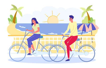 Summer Time Outdoors Activity, Man and Woman Riding Bikes in Public Park, on Seascape Background. Young People Vacation Spare Time, Sport, Leisure, Fun, Holidays Sport Cartoon Flat Vector Illustration