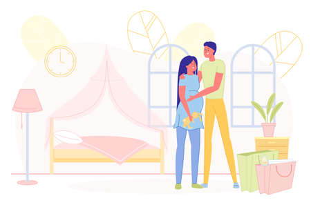 Prompt Poster, Young Couple Waiting for Baby. Happy Husband and Wife Prepared Bedroom for their Future Daughter. They Standing, Man Put his Hand on Belly his Beloved. There are Bags in Room.