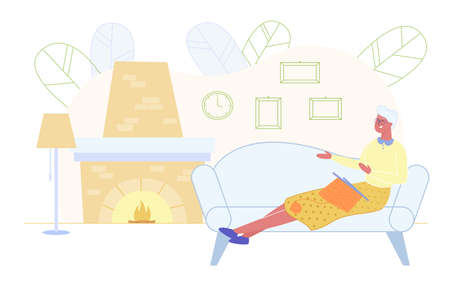 Senior Woman Sitting on Sofa in Living Room with Burning Fireplace Knitting Clothing. Granny Handcraft Hobby Spare Time at Home. Grandmother Enjoying Knitwork Leisure Cartoon Flat Vector Illustration