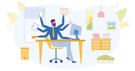 Multitasking Work in Office, Busy Businessman, Effective Workflow Flat Vector Concept. Successful Entrepreneur Working on Many Tasks at Same Time, Calling on Phone, Mailing Online, Eating Illustration