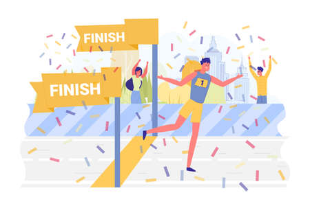 Athlete Wins Race, Confetti Fly around, Cartoon. Young Man Resorts to Designated Finish Place, he Wins City Marathon. Viewers Watch at Him, and with him Rejoice in his Victory in Autumn Park.