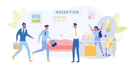 Meeting at Reception Business Company, Banner. Girl Secretary Jumped up and Joyfully Raised her Hands up, her Boss Meets Men in Business Suits with Briefcases in their Hands in Office Lobby.