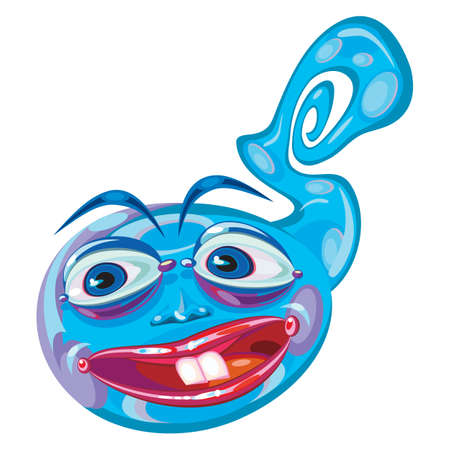 perky: Blue alien creature cartoon mascot.