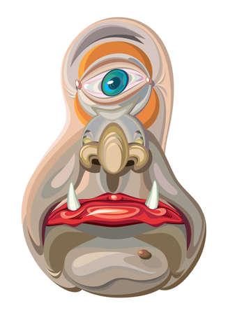 creature: One-eye alien creature cartoon mascot.
