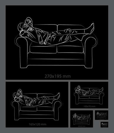 relaxing: Man relaxing on a sofa drawing.