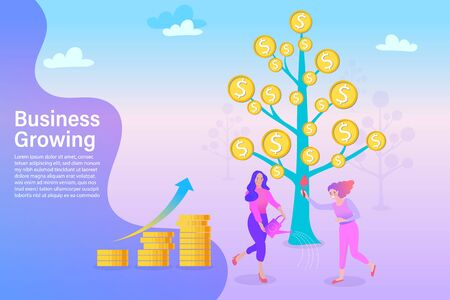 Characters Collecting Golden Coins from Money Tree. Business Woman Watering a Money Plant. Financial Pofit, Flat Cartoon Vector Illustration. Ilustração