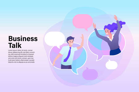 partner chat with buble chat. businesswoman and businessman in speech bubble, smiling female and male,flat vector illustration. Çizim