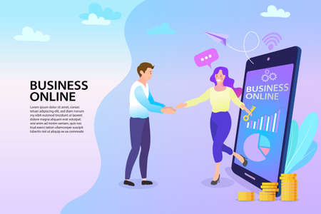 The success of teamwork Via mobile phone. businessman and businesswoman handshake. Business partnership concept in flat vector illustration.