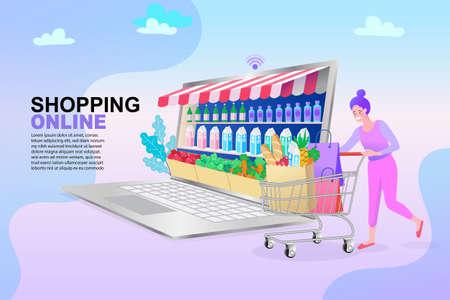 nternet digital store scene with woman on shopping. E-commerce advertising illustration. Çizim