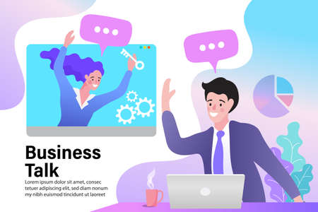 Vector illustration modern flat design. Online video communication concept of video presentation and training in business. conceptual of teamwork.