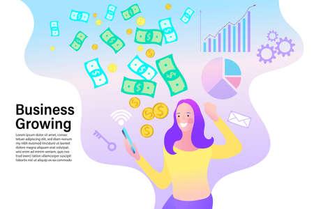 business success concept. Marketing online. Money rain illustration. Woman standing under money falling down. Vector illustration in flat style.