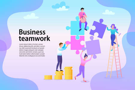 Group of business people assembling jigsaw puzzle and represent team support. Concept of teamwork, business cooperation, collective project work. Modern flat colorful vector illustration.