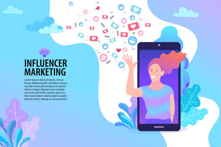 woman with megaphone on screen and young people surrounding her. Influencer, social media or network promotion. Vector flat illustration. Ilustrace