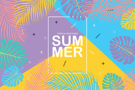 vector cover summer, tropical palm leaves background, EPS10. Illustration