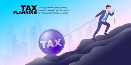 The businessman or manager is pulling his heavy ball along with tax type on it. Business concept, Flat style vector illustration. Illustration
