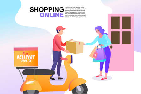 Food and fast food delivery online on smartphone business concept design vector illustration. E-commerce. quick shipping a parcel around city by motorcycle staff. Vettoriali