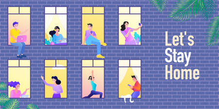 Stay home concept. People look out of apartment. Self isolation, quarantine due to coronavirus. windows of the house. Evening neighbors routine flat color vector illustration.
