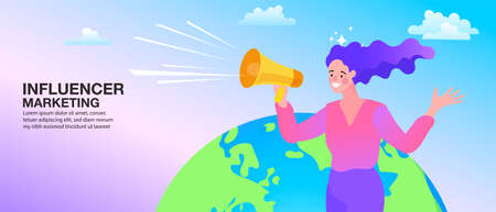 Mobile phone, woman with megaphone on screen. social media or network promotion. influencer marketing concept - blogger promotion services and goods for his followers online. Flat vector illustration. Vektoros illusztráció