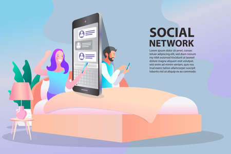 man with mobile phones, Social influencer concept. Media content to grab like from social audience Design. Refer a friend web banner. digital marketing services website interface. flat illustration.
