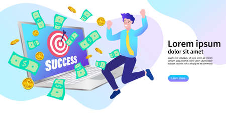 Online marketing have a lot of money. Successful business people are happy. Winning of competition. Vector illustration flat style. 일러스트