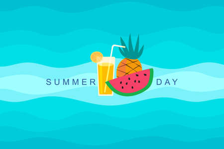 Vector orange juice pattern for colorful summer on blue background