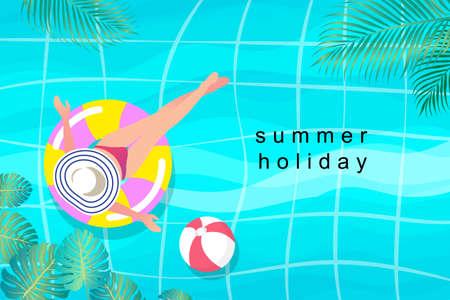 Summer girl on the beach. Staying home vacation enjoy cartoon illustration. Vacation on sea or ocean resort. Female tourist sunbathing. Summer holidays at seaside