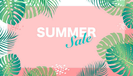 Vector design summer sale with flowers frame on blue background. palm tree foliage tropical. EPS10. 向量圖像
