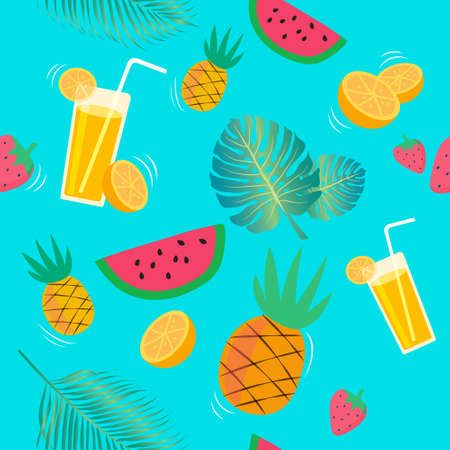 Seamless pattern with pineapples and juicy strawberries on green background. Fruit mix design for fabric and decor. Bright summer fruits illustration.