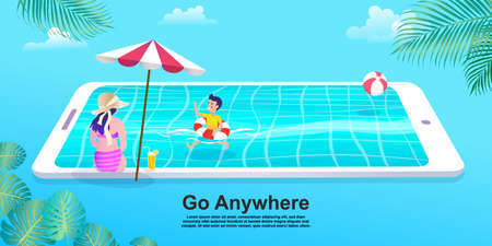 People relaxing at the beach and swimming in a smartphone pool, Girl in bikini with mobile phone. Flat Cartoon woman and boy Character.