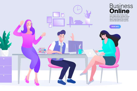 Group of young business people working and communicating while sitting at the office desk together. Meeting at the conference table. Flat design.