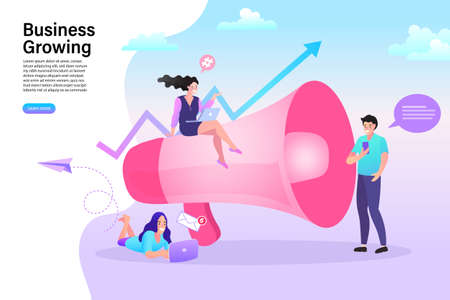Influencer marketing concept. blogger promotion services and goods for her followers online. woman with megaphone on screen and young people surrounding her. Flat vector illustration.
