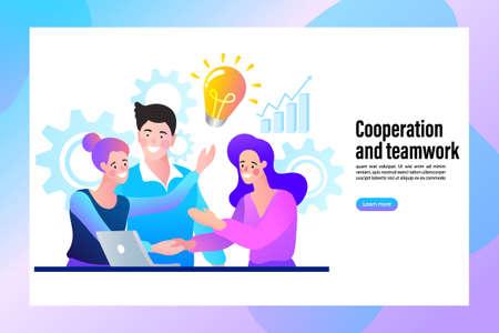 People working together in the company, brainstorming. teamwork concept. online assistant at work. vector illustration. Illusztráció