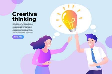 Young people have idea. Business man and woman, colleagues, work together. Great idea is in form of a light bulb. vector illustration.