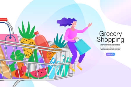 Girl with cart for shopping from the store. Pretty young woman with shopping bags big sale. flat vector illustration. Illusztráció
