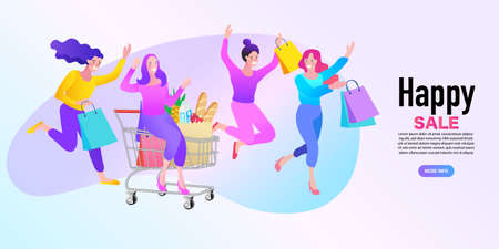 group of people with cart for shopping from the store. Pretty young woman with shopping bags big sale. flat vector illustration.