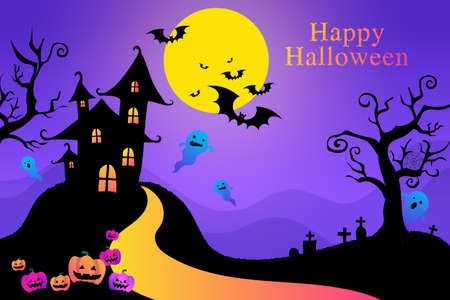 Greeting purple postcard, happy Halloween, card with pumpkin Jack, child, candy and ghost.
