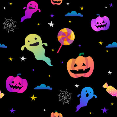 Halloween colorful cute funny creepy doodles semless vector pattern. scary ghost, sweets, pumpkin and spider web.
