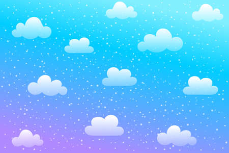 Blue sky with snowy clouds and falling snow background. Plane sky view with white snow. vector illustration.