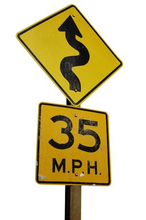 road ahead: Warning sign for a winding road ahead