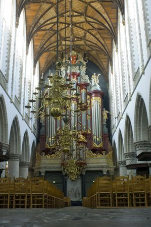 protestant: The organ and interior of the Bavo Protestant Church in Haarlem, Netherlands