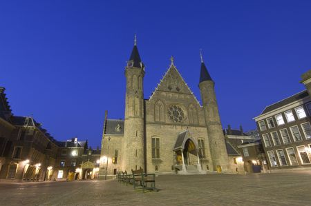 resides: The Dutch House of parliaments in The hage, het Binnenhof, where the Dutch goverment resides, and the Dutch queen reads the state of the union every third Thursday in September Stock Photo