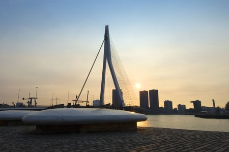 euromast: The Erasmus Bridge and part of Rotterdam Harmour at sunset