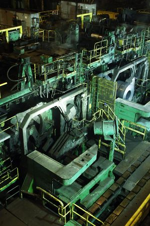 steelworks: A huge mill in the production of steel sheet on coil Stock Photo