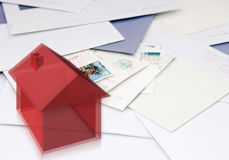 opacity: A computer generated, semi-transparant styled image of a house on a stack of mail, indicating change of address, moving, relocating Stock Photo