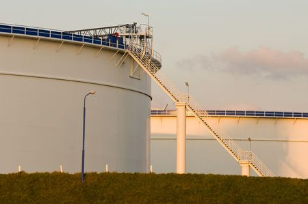 Oil tanks in the warm glow of the evening light Stock Photo - 2075157