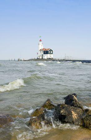 ijsselmeer: The famous lighthouse at Marken, aptly called het Paard van Marken in the IJsselmeer.