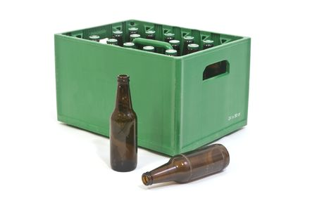 crate: Beer crate with two empty bottles in front