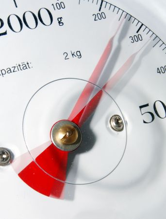 kilograms: A kitchen scale with moving needle, using a stroboscopic flash (two bursts) to freeze the moving needle, indicating weight reduction